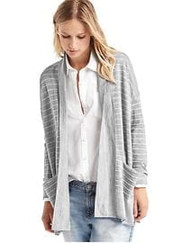 Merino wool relaxed stripe cardigan