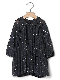 Shimmer dots pleated dress