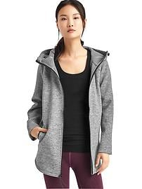 Double-knit zip cape hoodie