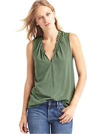 Luxe V-neck shirred tank
