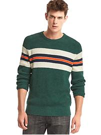 Ribbed chest-stripe crewneck sweater