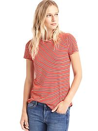 Vintage wash small stripe crewneck tee