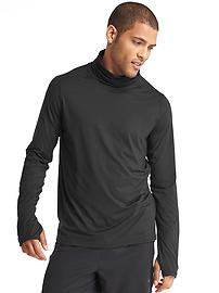 Brushed jersey funnel neck pullover