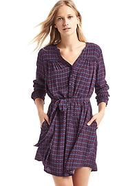 Soft henley print shirtdress