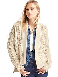Cable knit hi-lo cardigan