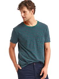 Slub stripe pocket tee