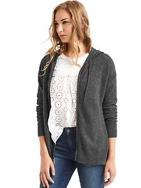 Soft zip hooded sweater