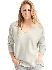 Wide V-neck pullover sweater