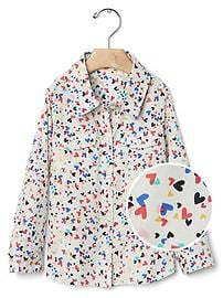 Confetti heart button shirt