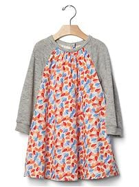Knit-sleeve print dress
