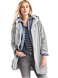 French terry hooded cardigan