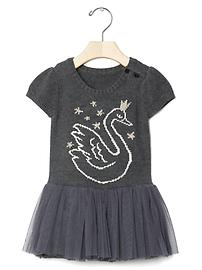 Intarsia swan tutu dress