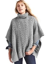 Cableknit turtleneck poncho