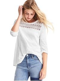 Geo lace three-quarter top