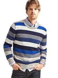 Merino-blend bright stripe crew sweater