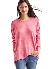 Softspun knit crewneck hi-lo top