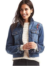 1969 short zip embroidered denim jacket