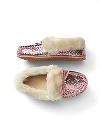 Cozy glitter moccasin slippers