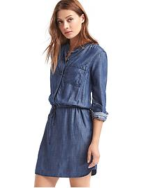 Tencel&#174 long sleeve shirtdress