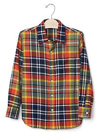 Plaid brushed flannel shirt
