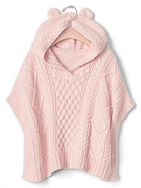 Cable knit bear poncho