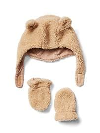 Cozy bear hat and mitten set