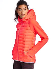 PrimaLoft&#174 performance fleece zip hooded puffer