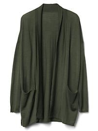 Merino wool relaxed open cardigan
