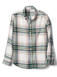 Plaid button-down flannel shirt