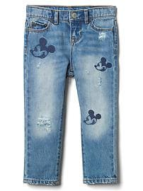 babyGap &#124 Disney Baby Mickey Mouse embroidered rip & repair girlfriend jeans
