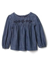 1969 embroidered chambray top