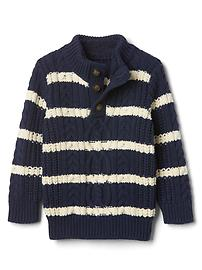 Striped button mockneck sweater