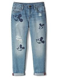 GapKids &#124 Disney Mickey Mouse embroidered girlfriend jeans
