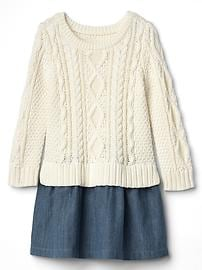 Cable knit layer dress