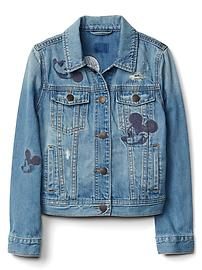 GapKids &#124 Disney Mickey Mouse embroidered denim jacket