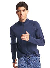 Brushed jersey half-zip pullover
