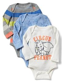 babyGap &#124 Disney Baby Dumbo long sleeve bodysuit (3-pair)