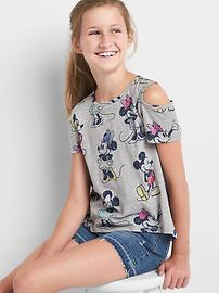 GapKids &#124 Disney Mickey Mouse and Minnie Mouse コールドショルダーTシャツ