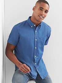 Oxford indigo short sleeve standard fit shirt