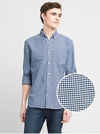 Micro gingham oxford shirt