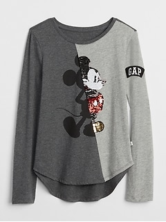 GapKids &#124 Disney Mickey Mouse and Minnie Mouse 変身スパンコールTシャツ